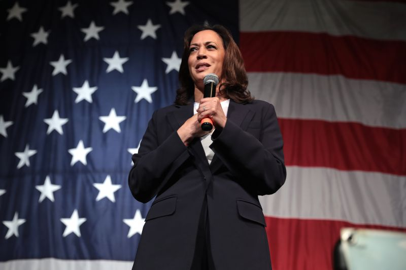 Kamala Harris stands in front of a US flag