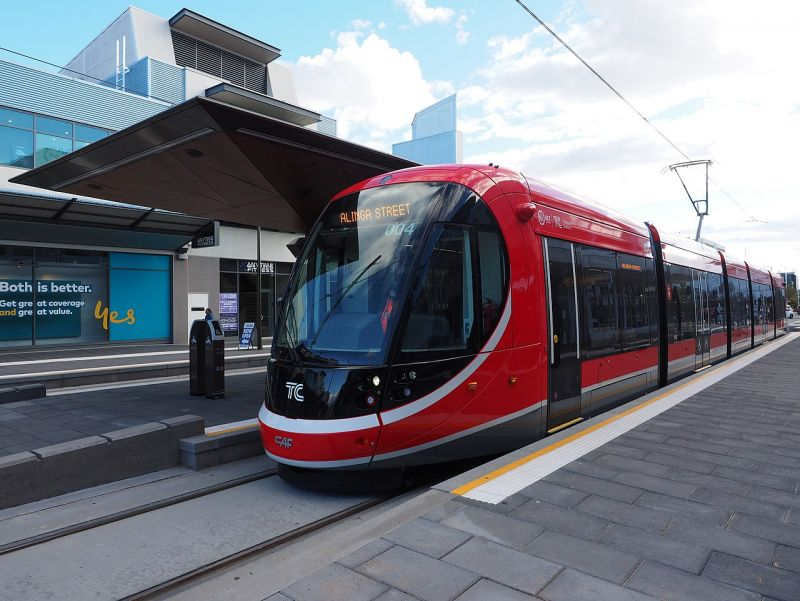 Light rail vehicle pulls into terminus in Canberra
