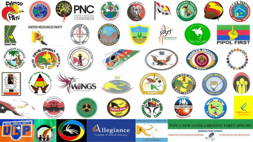 Logos of dozens of PNG political parties