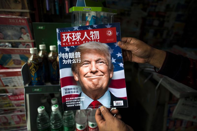 A Chinese magazine shows Donald Trump's face