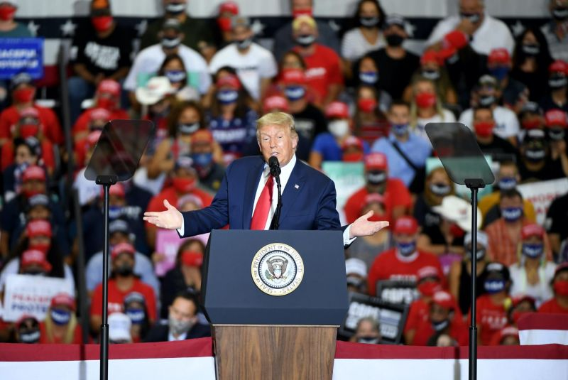 Donald Trump speaks at a rally
